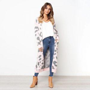 Leopard print cardigan pink
