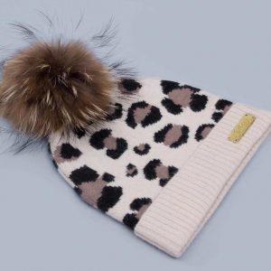 Leopard print Pom hat cream
