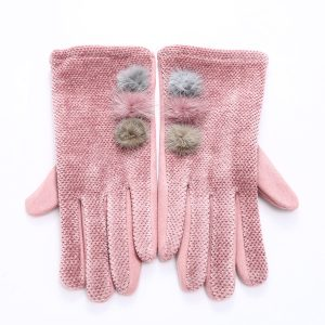 Pom gloves pink