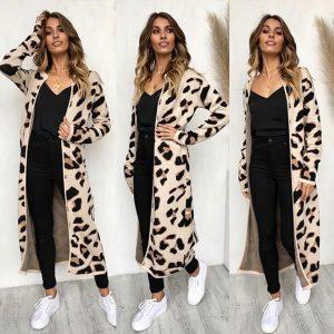 Leopard print cardigan cream