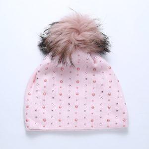 Pearl sparkle Pom hat pink