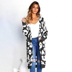 Leopard print cardigan black