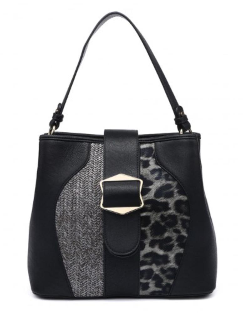 Leopard Print Handbag Black