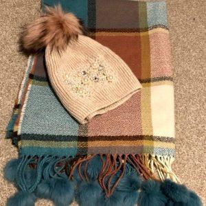 Teal Pom scarf & blush pearl Pom hat set