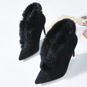Black fur shoe boots