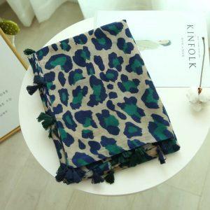 Leopard print scarf teal