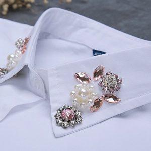 Pink flower mock collar