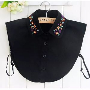 Embroidered floral collar black