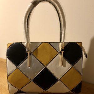 White grid handbag