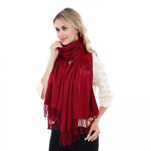 Burgundy Pom scarf