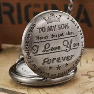 Son pocket watch brushed steel