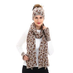 Leopard print hat, scarf and gloves set