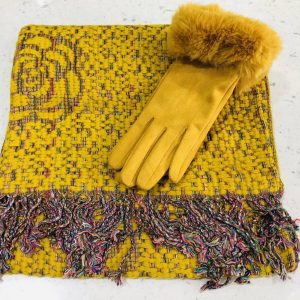 Mustard scarf and gloves set