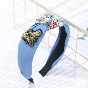Bee hairband blue
