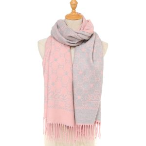 Pink/grey mix scarf