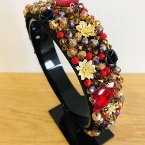 Red floral cluster crown