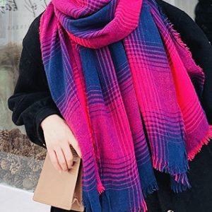 Navy and pink plaid scarf