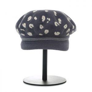 Leopard print peak hat charcoal