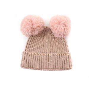 Double pom hat blush