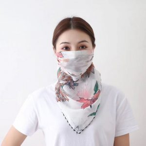 Coral floral scarf mask